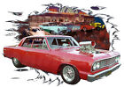 1964 Red Chevy Chevelle Blown Custom Hot Rod Diner T-Shirt 64, Muscle Car Tee's