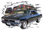 1966 Black Chevy Chevelle Super Sport SS Hot Rod GarageT-Shirt 66, Muscle Car T