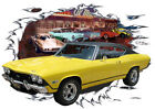 1968 Yellow Chevy Chevelle Super Sport a Hot Rod Diner T-Shirt 68, Muscle Car T