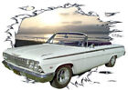 1962 White Chevy Impala Convertible Hot Rod Sun Set T-Shirt 62, Muscle Car Tee's