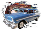1956 Blue Chevy Nomad Station Wagon Custom HotRod Diner T-Shirt 56, Muscle Car T