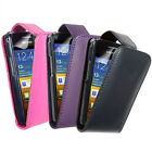 BLACK LEATHER FLIP CASE COVER & SCREEN PROTECTOR FOR VARIOUS SAMSUNG PHONES