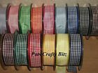 4m Berisfords Gingham Ribbon 25mm Various Colours