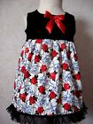 NEW Goth Baby Girls Black Red Cream Skulls Roses Top Dress Rock Pirate party