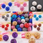 New Round Ball Pave Crystal Rhinestone Spacer Beads Fit Charm Jewelry 10 Colors