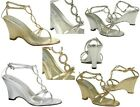 NEW Arlene Pageant Evening Wedge Sandals Silver, Gold Rhinestone Circle T Strap
