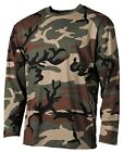 CAMO COMBAT LONG SLEEVE T-SHIRT US STYLE WOODLAND SM-XXL