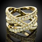 ARINNA Bird Nest Yellow Gold GP 18K Cocktail Crystal fashion finger Ring