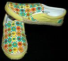 ADORABLE RETRO INSPIRED SUPER CUTE SLIP ON MULTI-COLOR CANVAS SNEAKERS Yellow