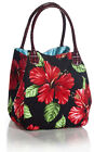 GAT Hawaiian Women Handbags - Ocean High Tide Black Bag - Red Hibiscus