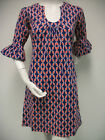 Tracy Negoshian Betsy Dress Blue Orange Jersey Knit Bell Sleeve NEW NWT TN-006
