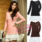False 2 Pieces Lace Skirt Long Sleeves Mini Jumper Sweater Dress UJ2314