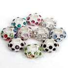 Wholesale 50x Silver Plated Crystal Rhinestone European Spacer Bead Fit Bracelet