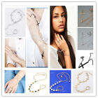 1P Punk Harness Chain Bracelet Link Finger Ring Chain Bangle Cuff Women Vogue