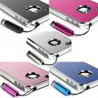 For iPhone 4 4S Aluminum Glossy Steel Hard Cover Case w/ Screen Protector + Pen