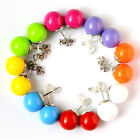 1Pair Cute Candy color Disco Round Ball Stud Earrings Pure color earrings