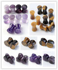 2P Natural Amethyst Tiger Eye Gemstone Ear Expander Stretcher Plug Flesh Tunnels