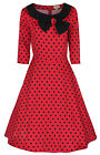 NEW RED POLKA DOT COLLARED BOW VINTAGE 1950's PARISIAN STYLE SWING PARTY DRESS