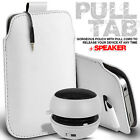 LEATHER PULL TAB POUCH SKIN CASE COVER & MINI SPEAKER FOR VARIOUS HTC PHONES
