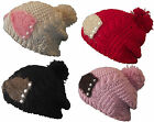 X91 LADIES RETRO CROCHET HAND KNIT PEARL DETAIL SLOUCH BAGGY BEANIE HAT BOBBLE