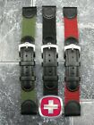 New 22mm WENGER SWISS ARMY Green Black Leather Nylon Strap Watch Band 22