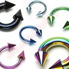 Titanium Anodized Spike Horse Shoe Bar Circular Ring Body Piercing Jewellery