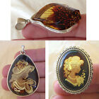 BALTIC ENGRAVED AMBER & STERLING SILVER HANDMADE PENDANT or PENDANT BROOCH