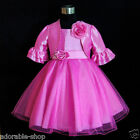 HP668 Hot Pink Bridal Flower Girls Dress + Cardigan SET SZ 1-2-3-4-5-6-7-8-10-12