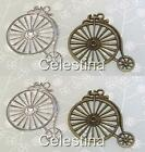 2 Antique Bronze or Silver Penny Farthing Charms Large-Steampunk - 53mm  TS236