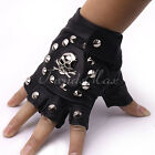 Hot Punk Mens Boys PU Leather Black Skull Nail DRIVING MOTORCYCLE Gloves(1 PAIR)
