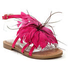 Lady Couture Women's Sunflower Ankle Strap Feather Flower Sandals Fuchsia EUR 39