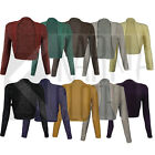 Bolero Shrug For Women Cardigan Crop Top Long Sleeve Knitted Lurex Size 8-14