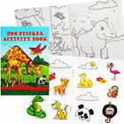A6 ZOO ANIMAL 36 PAGE ACTIVITY COLOUR STICKER BOOK CHILDREN PARTY BAG FILLER