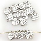 100/300/500Pcs Lots Tibetan Silver MADE WITH LOVE Heart Charm Pendants