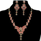 Flower Pattern Womens Wedding Party Crystal Necklace Earring Sets Acrylic s19713