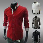 NWT- new fashion men's casual long-sleeved Slim shirt-4color-4size