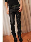 NEW MEN'S Synthetic JEANS SKINNY PU LEATHER CHAPARAJOS TROUSER DENIM PANTS FZD0