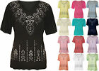 New Womens Plus Size Glitter Party Top Ladies Short Sleeve Stretch Tunic 14-24