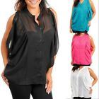 NEW SEXY SHEER COLD-SHOULDER Button DOLMAN SEE-THRU TOP NWT XL/1X/2X/3X 4 Colors