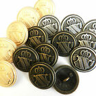 3 x military METAL shield buttons  bronze, silver or gold 15mm 20mm or 23mm