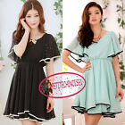 US 4-18 Short Bat Wing Sleeve High Waist Full Skirt Chiffon Mini Dress SJ9207