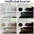 WAFFLE Quilt Cover Set - Black White Linen Chocolate- SINGLE DOUBLE QUEEN KING