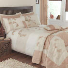 Organic Natural Beige Cream Leaf Linen Appliqué Duvet Quilt Cover Bedding Set