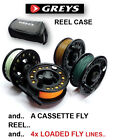 Greys Reel Case & (LAR) Fly Reel & 4 Loaded Fly Lines Float/Int/Sink/Fast Sink