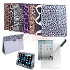 Animal Print Folding Leather PU Case Stand Magnetic Cover iPad 2 3 4 + Protector