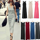 Womens Ladies Long Vest Causal Jersey Stretch Cotton Maxi Dress 14 Candy Color