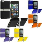 Color Hard Rubberized Case Cover with Chrome Stand for iPod Touch 4th Gen 4G 4