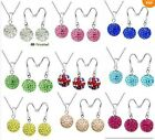 Wholesale Jewelry Crystal 10mm Disco Ball 925Silver Necklace/Earrings sets +BOX
