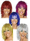 Ladies Metallic Tinsel Cyber Wig 1970's in Silver Gold Pink Red Blue Fancy Dress