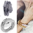 Lady Punk Style Snake Coiled Alloy Bracelet Stretch Rhinestone Crystal Bangle